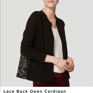 LOFT Lace Back Open Cardigan